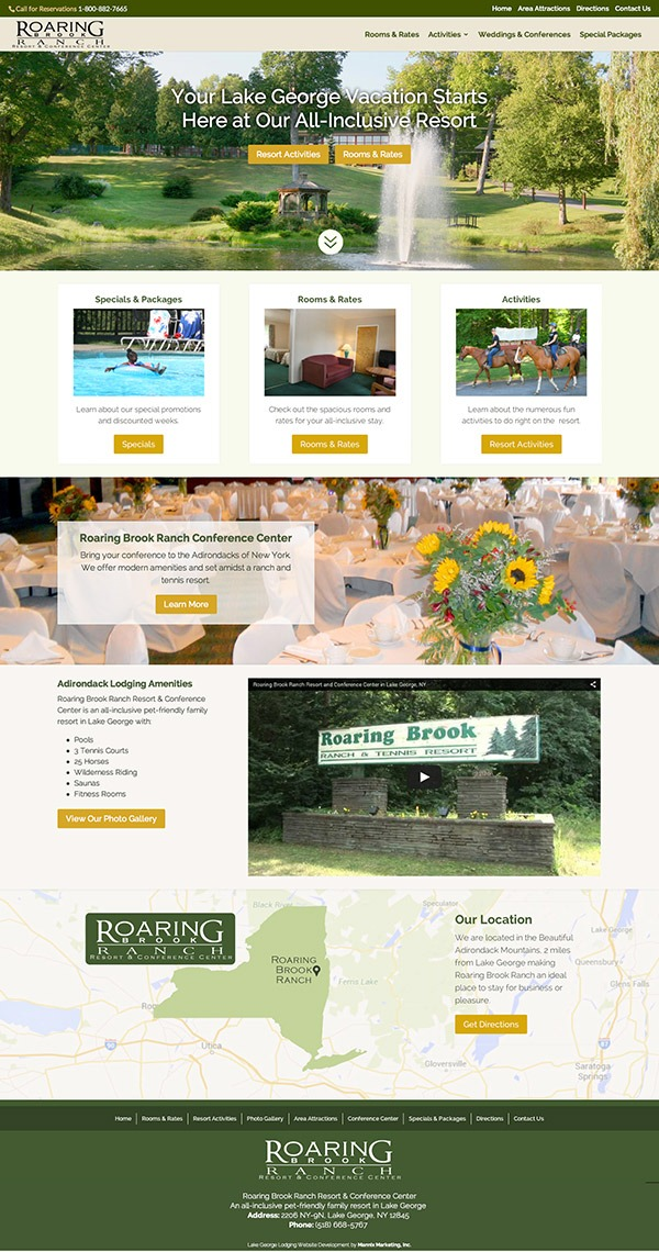 Roaring Brook Ranch Resort and Conference Center Website Design