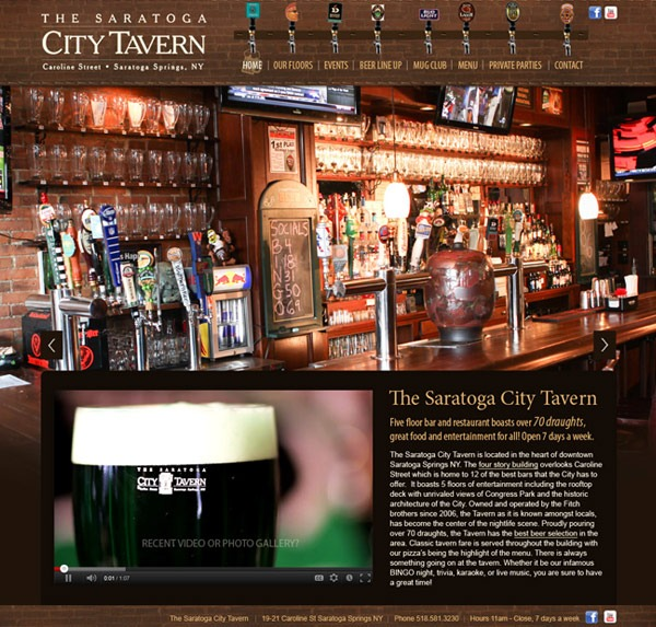 Saratoga City Tavern Website Design and Development
