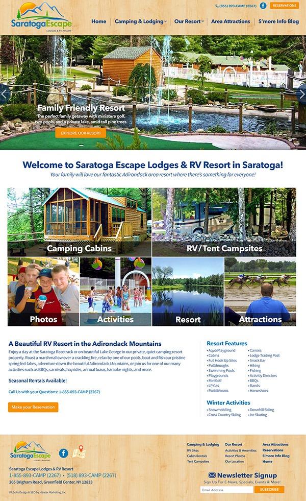Saratoga Escape Lodge and RV Resort Website Design and Development