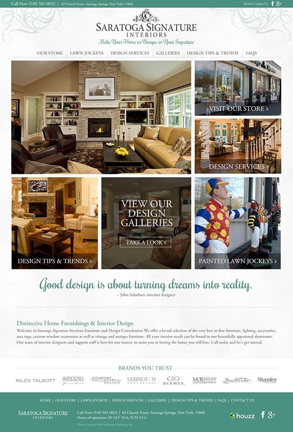 Saratoga Signature Interiors Website Design and Development