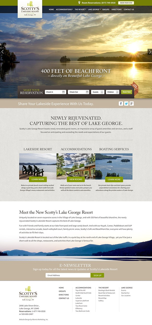 Scottys Lakeside Resort Website Design and Development
