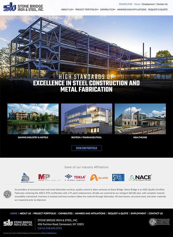 Stone Bridge Iron and Steel Website Design and Development