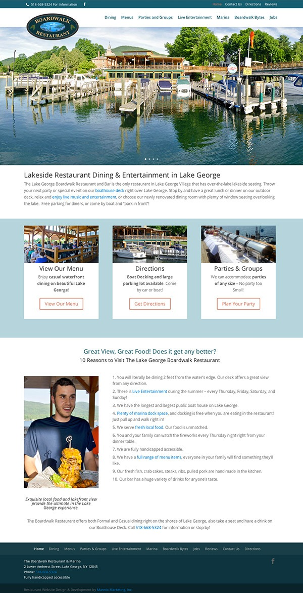 The Lake George Boardwalk Restaurant and Marina Website Design and Development