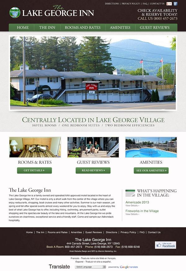The Lake George Inn Website Design and Development