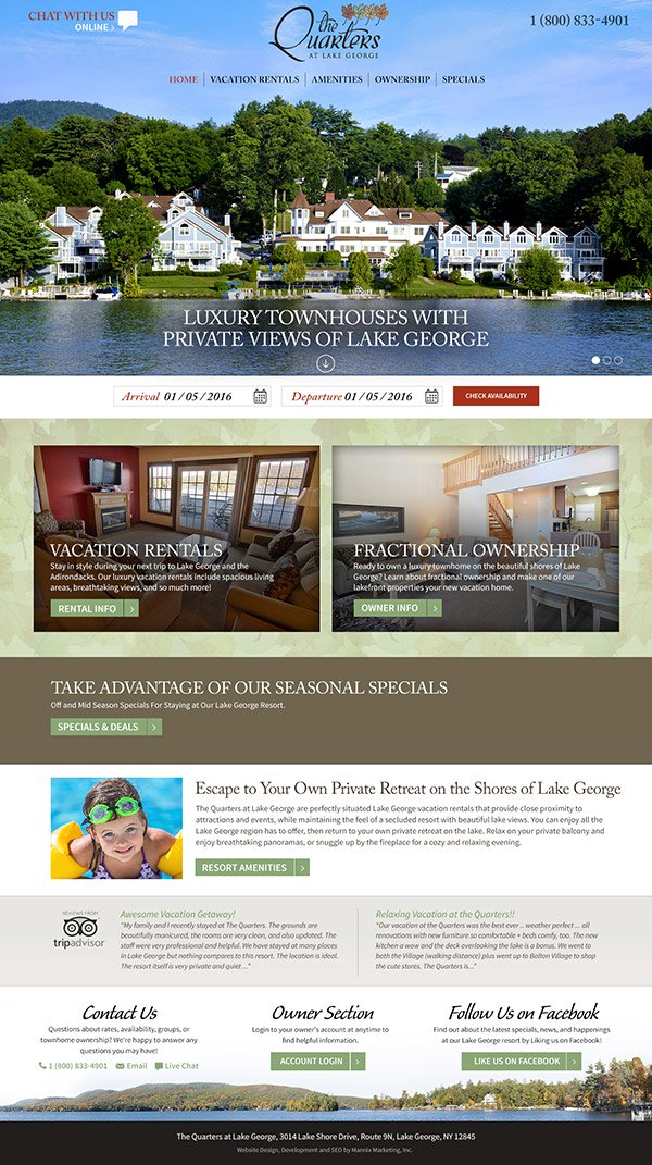 The Quarters at Lake George Website Design and Development