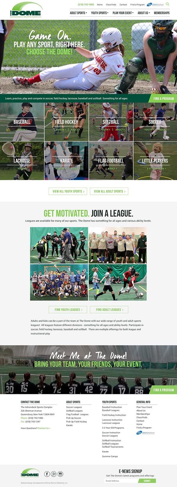The Dome Adirondack Sports Complex Website Design and Development