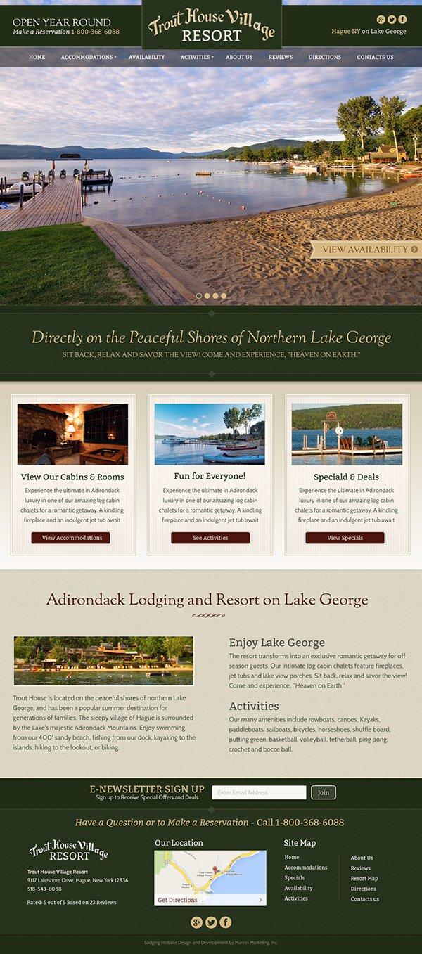 Trout House Village Resort Website Design and Development