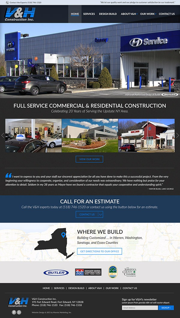 V and H Construction Website Design and Development