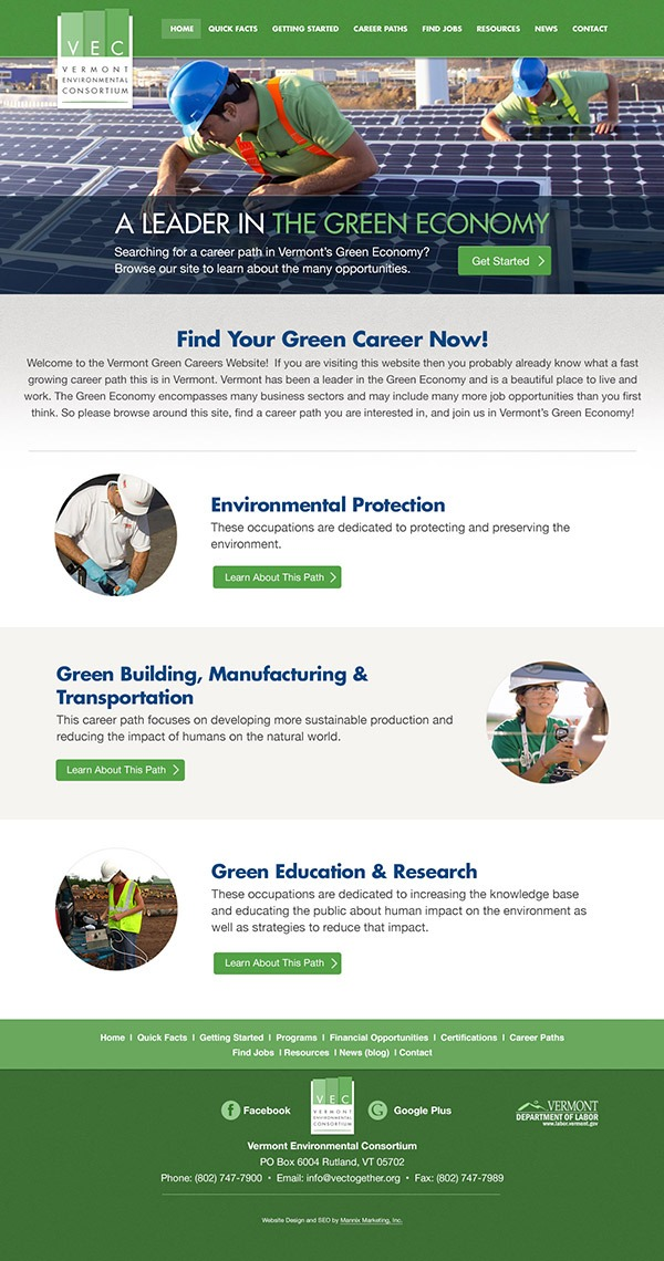Vermont Environmental Consortium Website Design and Development