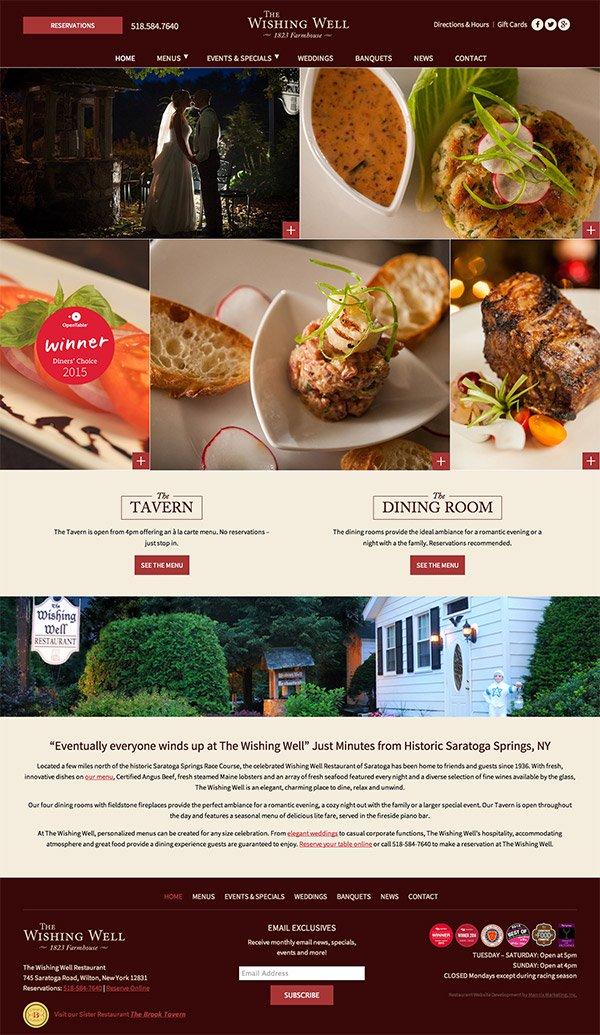 Wishing Well Restaurant Website Design