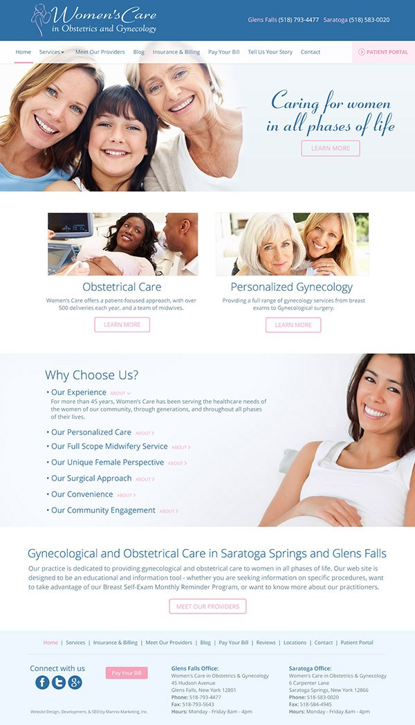 Womens Care in Obstetrics and Gynecology Website Design and Development