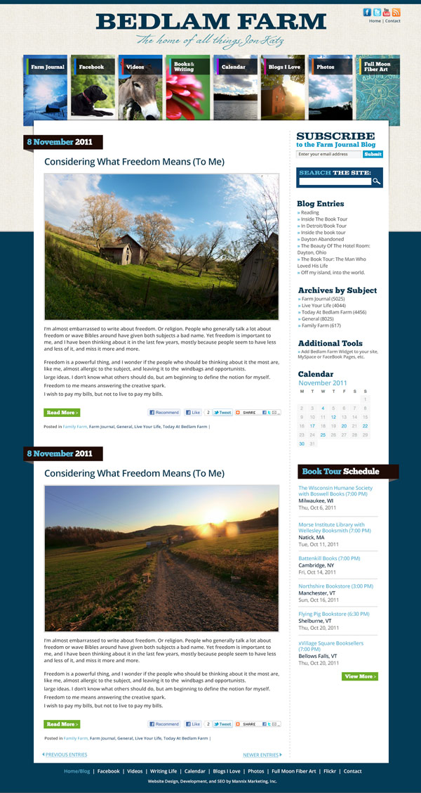 Bedlam Farm Website Design and Development