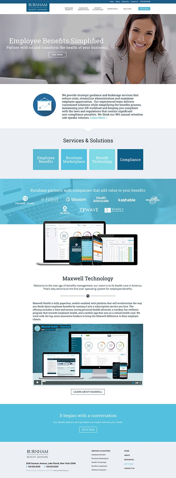 Burnham Benefit Advisors website design and development