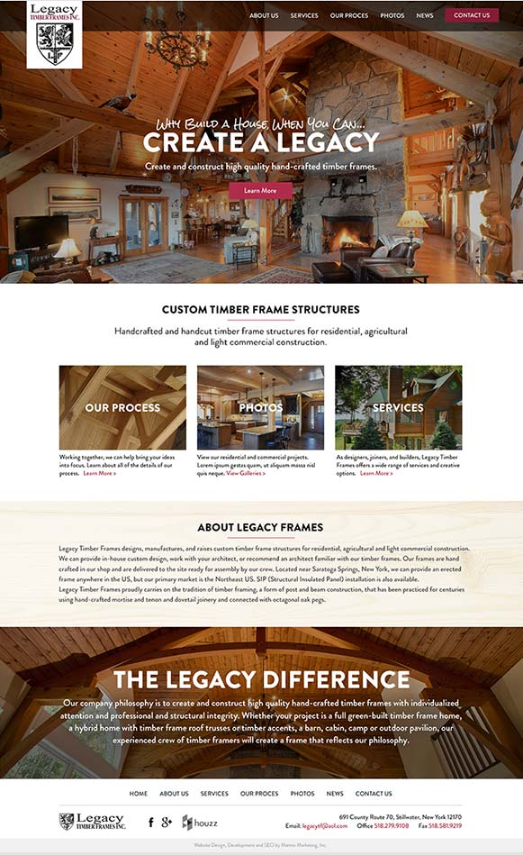 Legacy Timber Frames Website Design