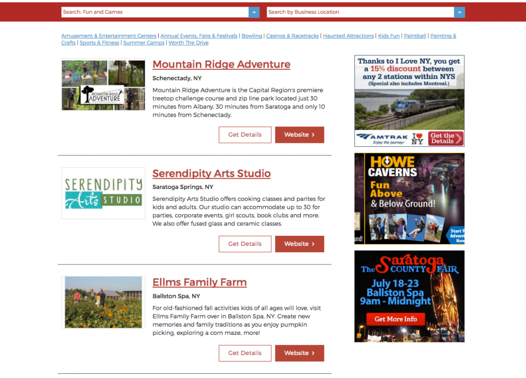 Saratoga.com Display Ads