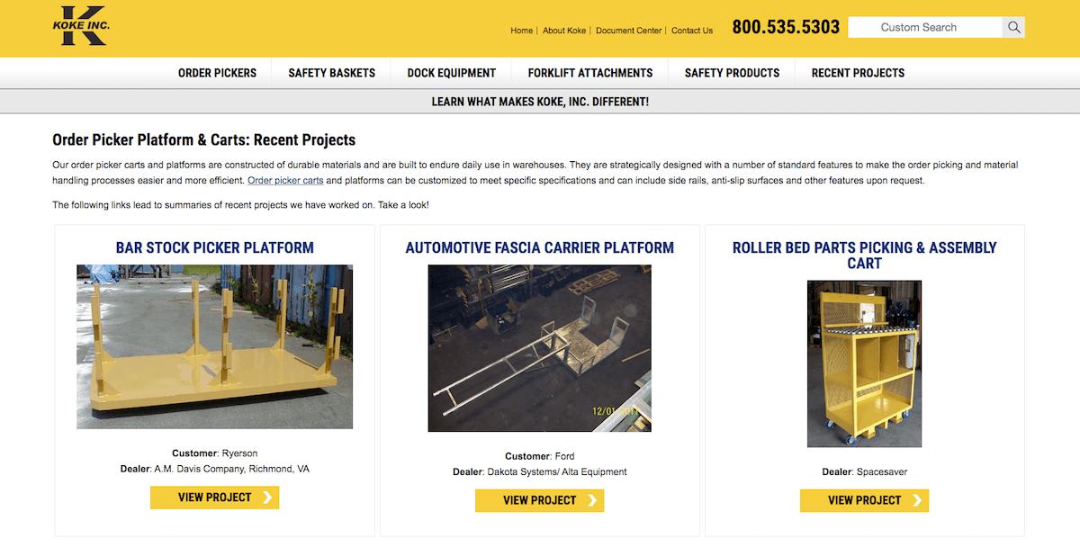 Case Studies on Manufacturing website