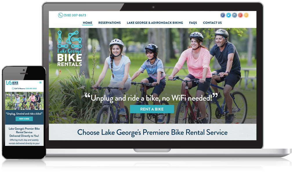 Lake George Bike Rentals Responsive Website Design