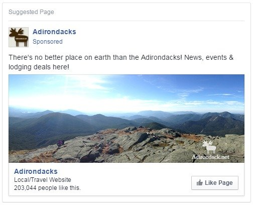 Adirondack.net Facebook Advertising Post