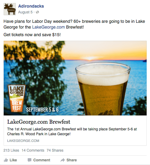 Adirondack.net Facebook Event Promotion Post- Brewfest