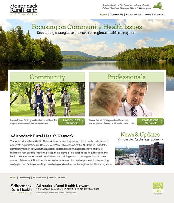 Adirondack Rural Health Website Development and Design