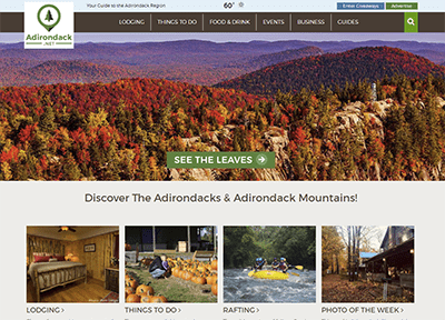 screenshot of adirondacks website