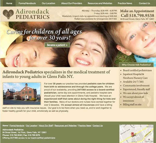 Adirondack Pediatrics Website Design