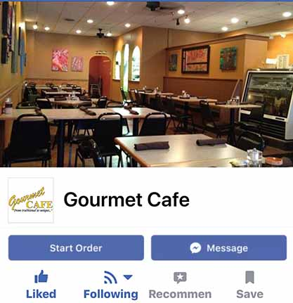 mock up of facebook ordering feature on a restaurant facebook page