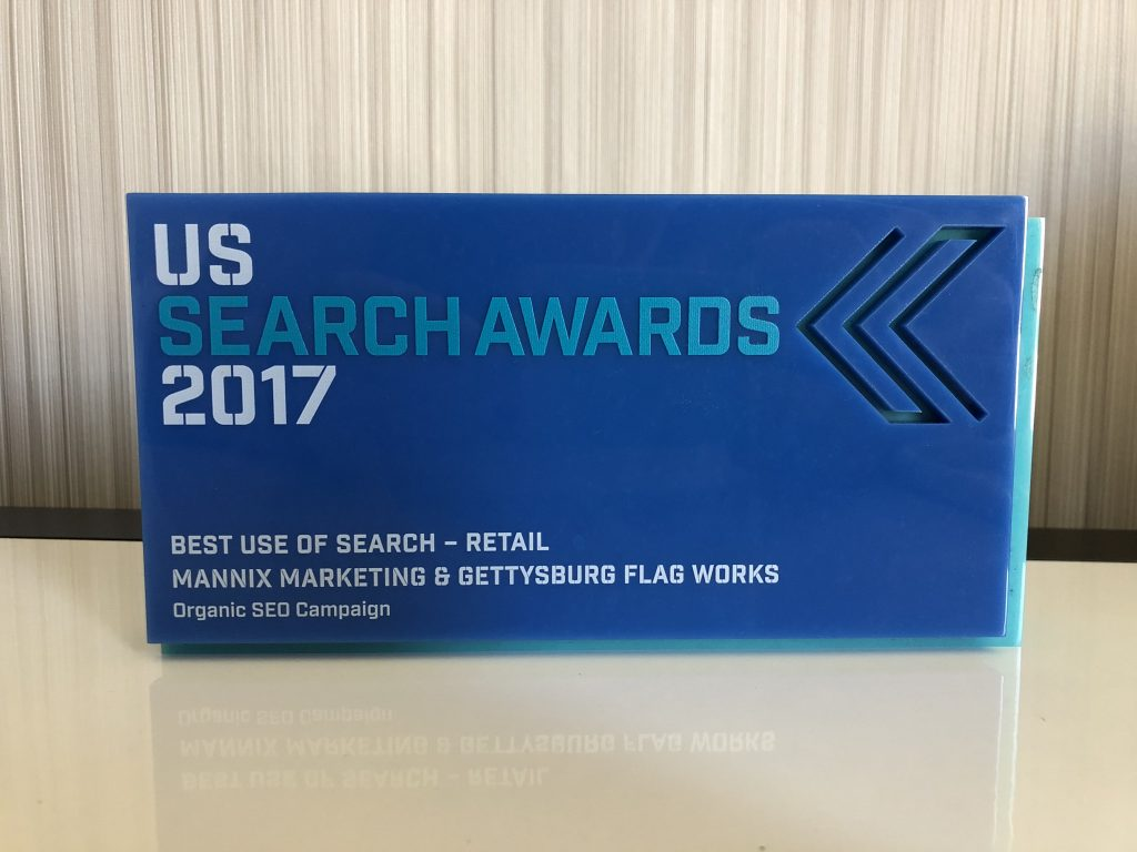 Up close view of the US Search Awards - Best Use Of Search - Retail 2017