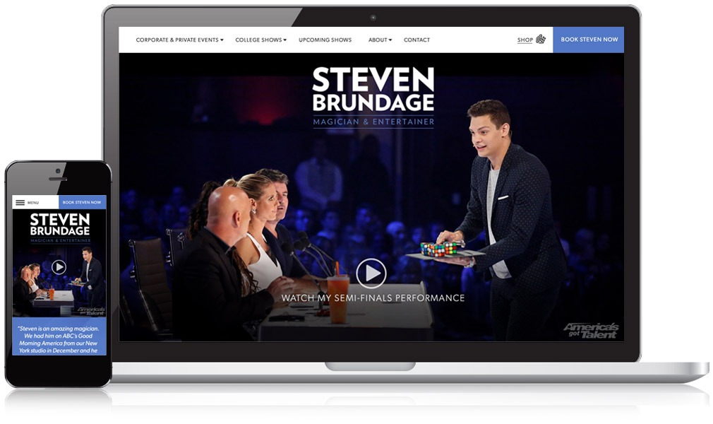 Steven Brundage website on laptop and mobile device