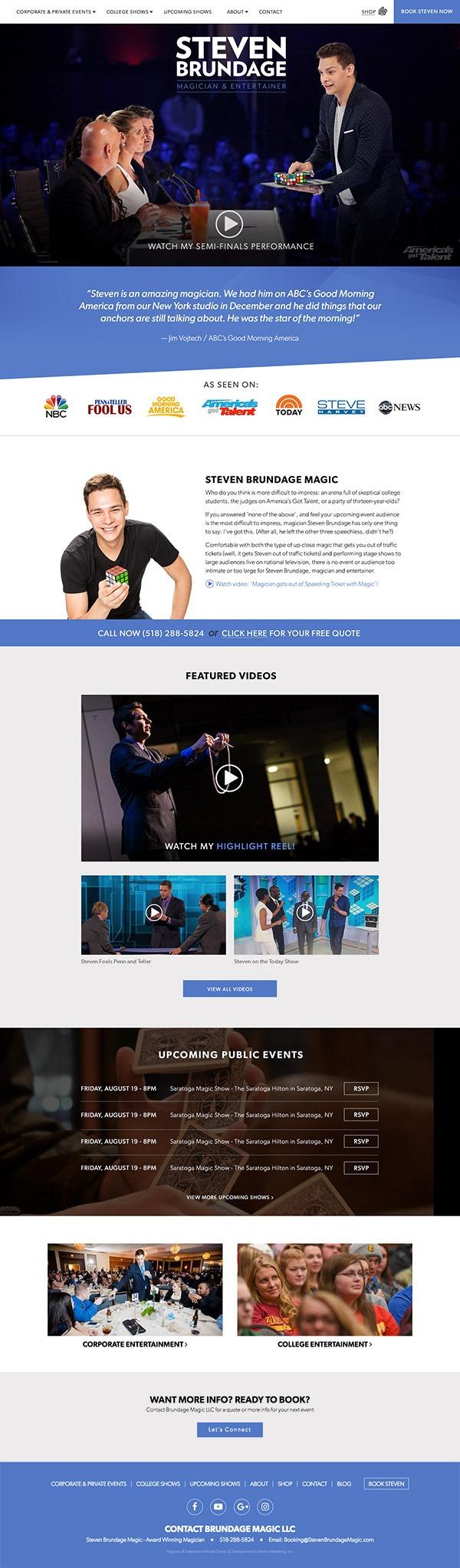 Entire image of the full homepage of StevenBrundageMagic.com