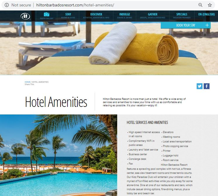 hotel amenities page