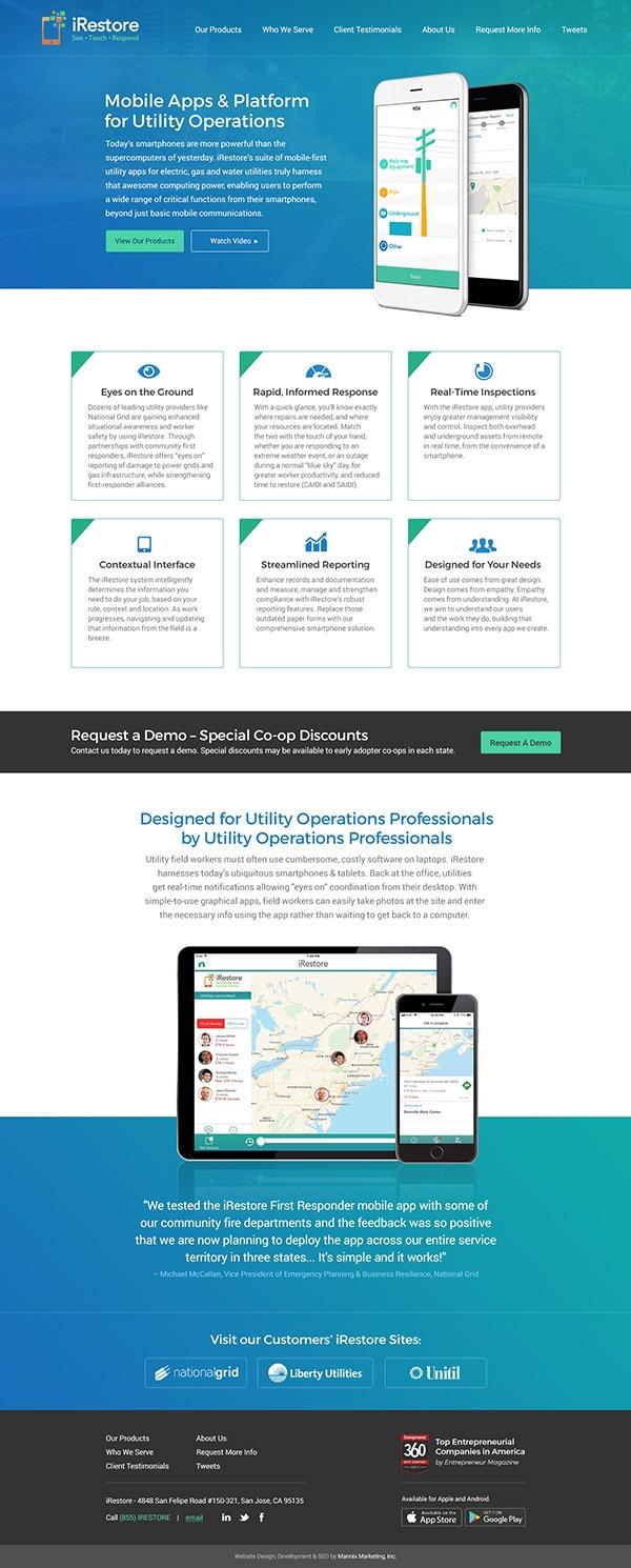 Full homepage design of iRestore App by Mannix Marketing