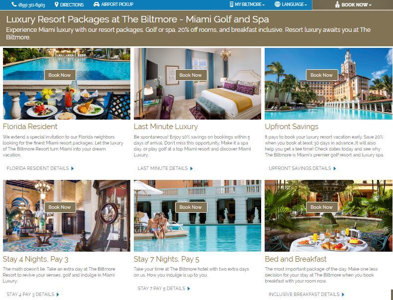 specials page of biltmore hotel