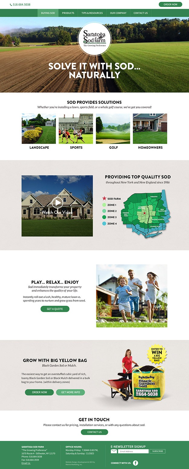 Homepage screenshot for Saratoga Sod farm website design