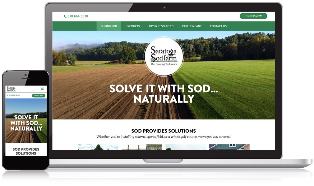 Picture of the Saratoga Sod farm website on a desktop and mobile device