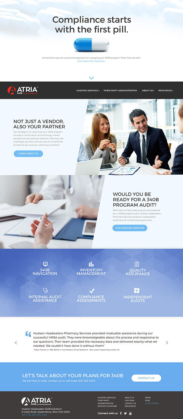 Full view of homepage website design for Atria 340B