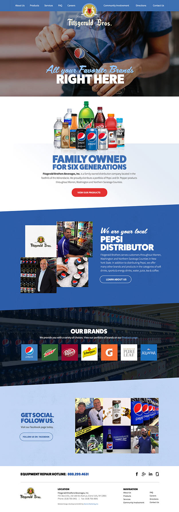 Full view of Fitzgerald Bros. homepage of their responsive website