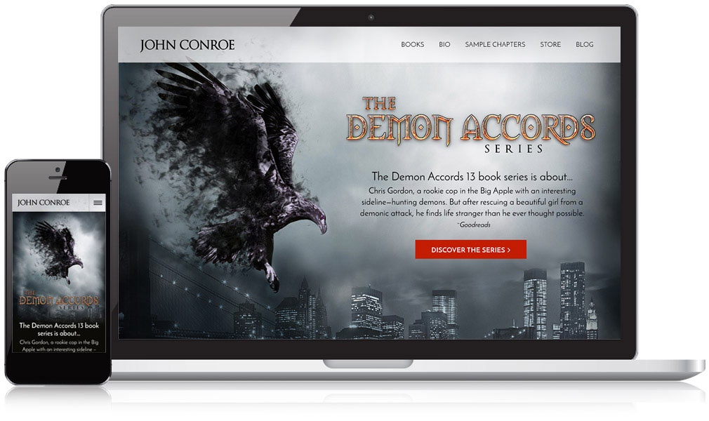 Screenshot of John Conroe's website in desktop and mobile views