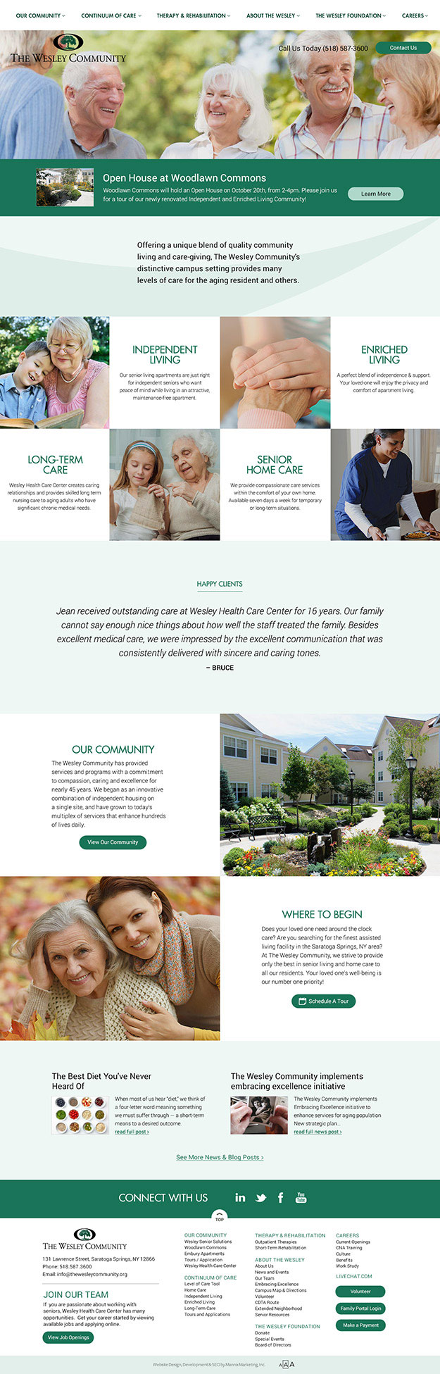 Homepage of The Wesley Community Senior Living Community