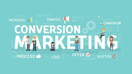 Conversion marketing concept. Increasing the process of visitors traffic.