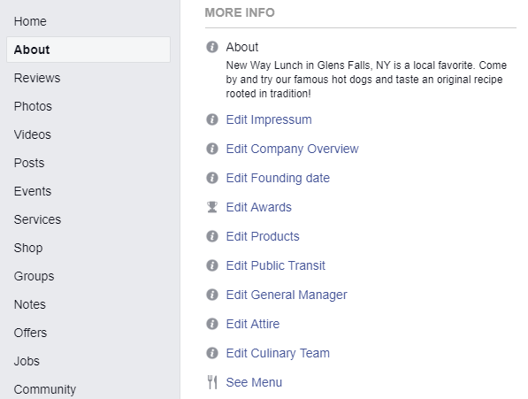 Facebook menu on business pages