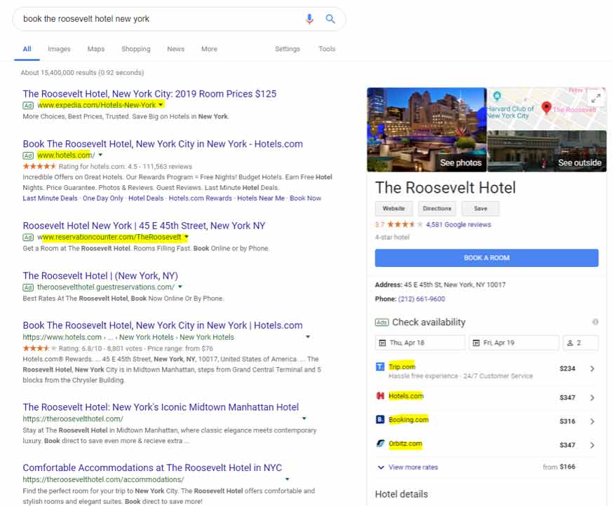 "Screenshot of searching ""book the roosevelt hotel new york"" in google"