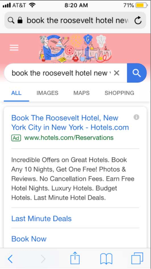 "screenshot of mobile search of ""book the roosevelt hotel new york"""