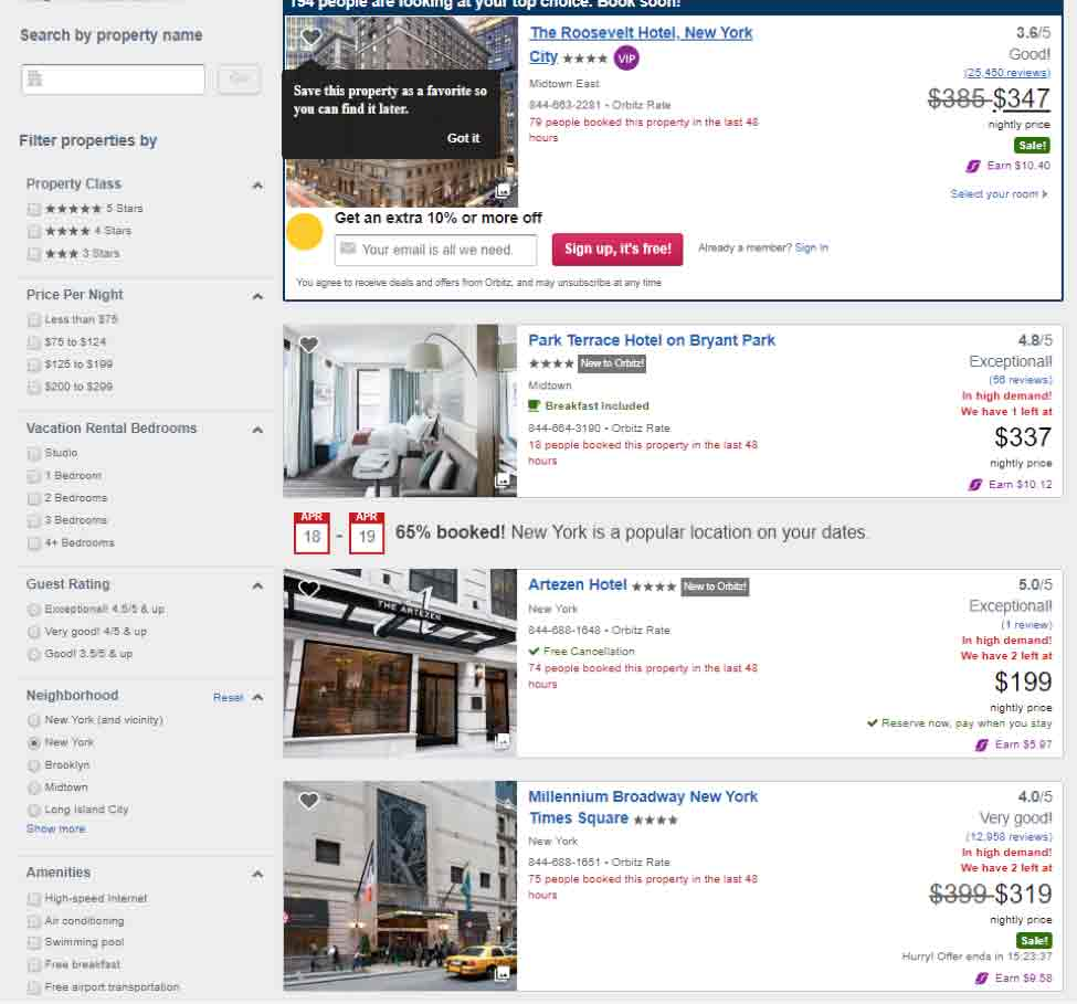 screenshot of orbitz.com