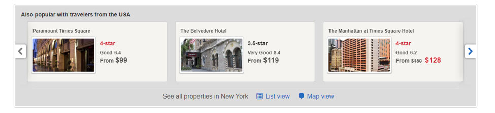 screenshots of suggested hotels for Roosevelt Hotel on hotel.com