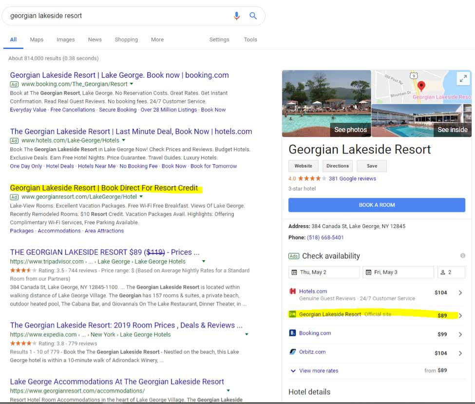 "screenshot of searching ""georgian lakeside resort"" on google"