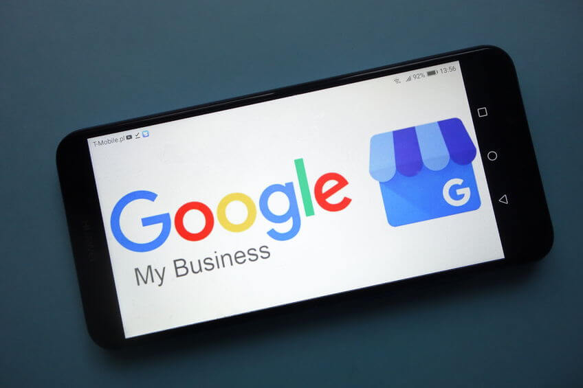 Google My Business logo displayed on smartphone