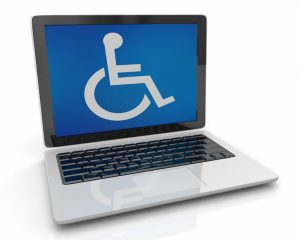 Wheelchair Disabled Person Symbol Disability Laptop Computer Software 3d Illustration
