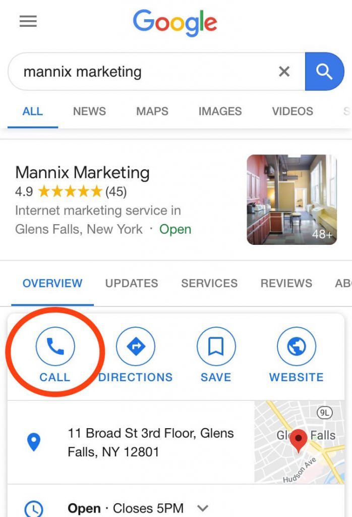 Google My Business Click to Call Phone Number Screenshot