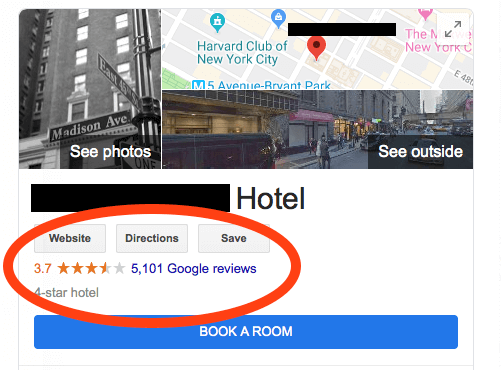 Screenshot of Hotel Reviews on Google my business